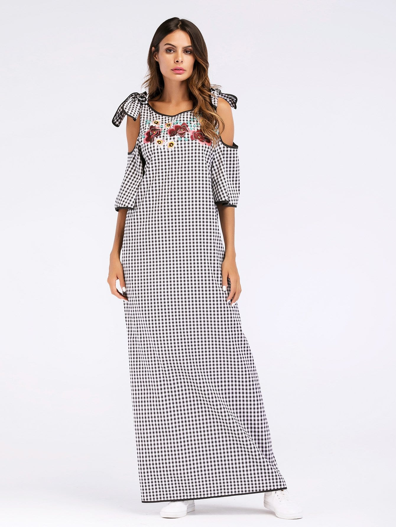 Floral Embroidered Self Tie Open Shoulder Plaid Dress open shoulder plaid top