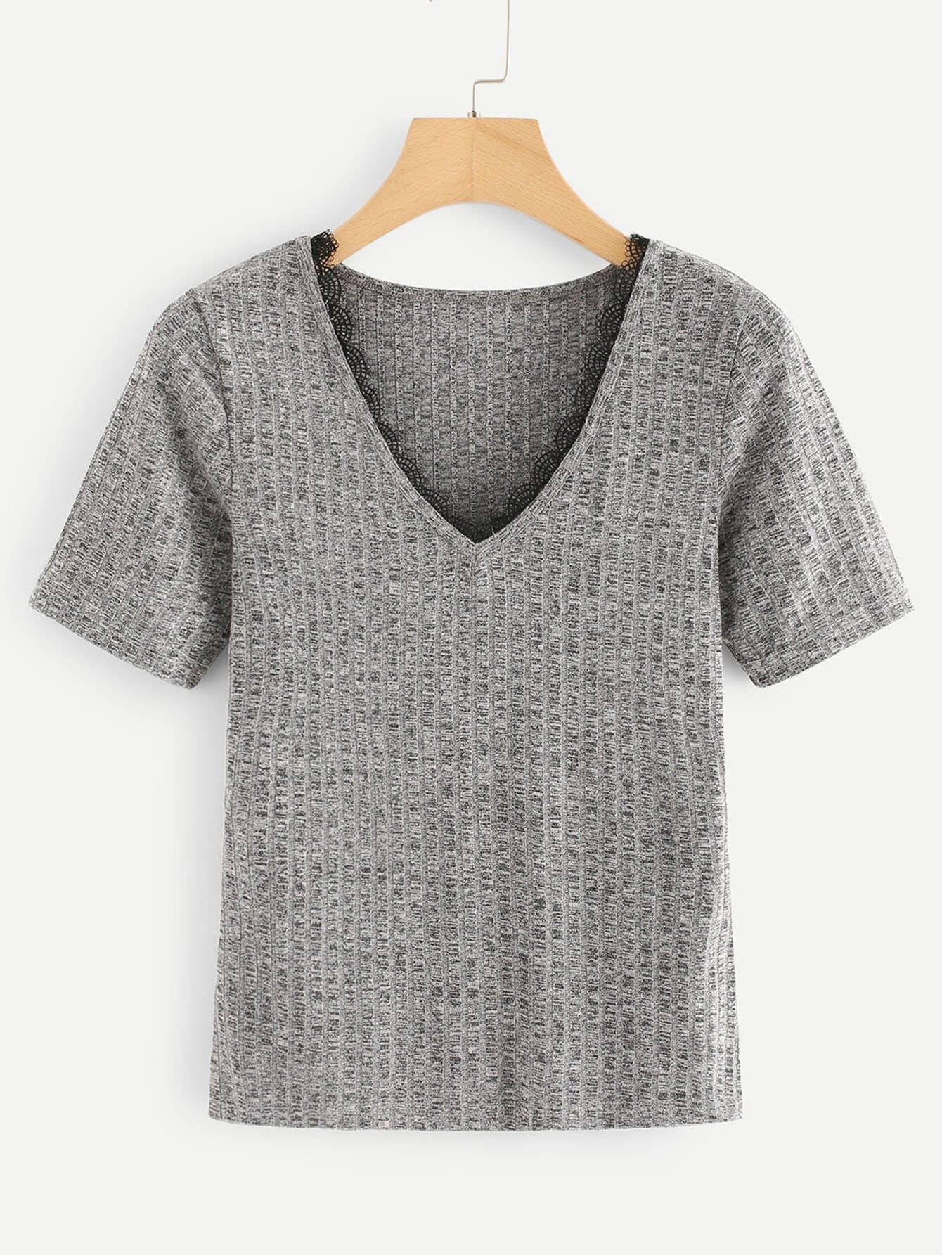 V Neck Ribbed Tee ruched neck frill sleeve ribbed tee