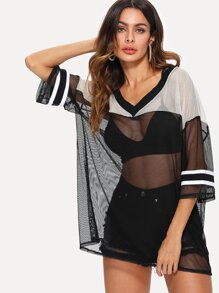 Color Block See Through Mesh Top