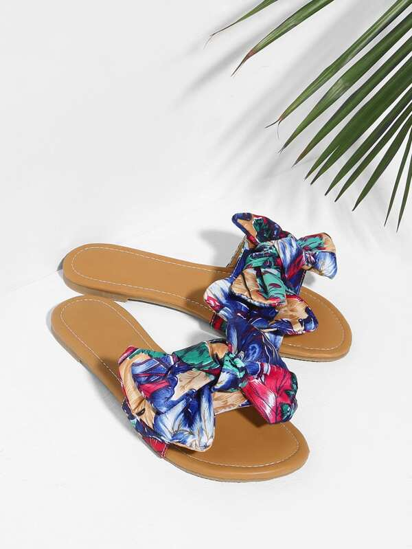 Bow Decorated Satin Flat Sandals by Sheinside