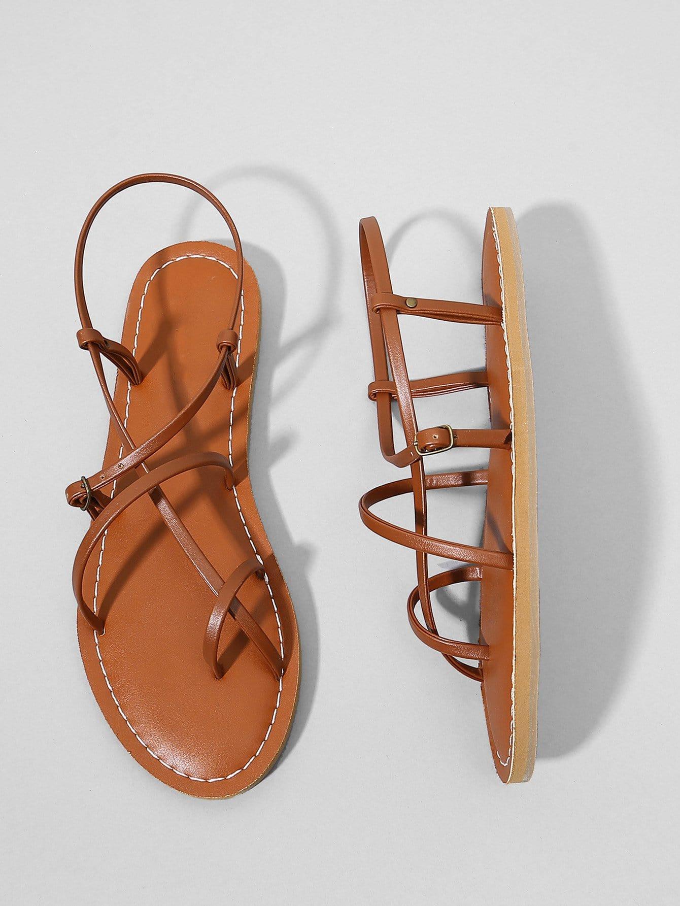 Strappy PU Flat Sandals metallic strappy flat sandals