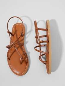 Strappy PU Flat Sandals