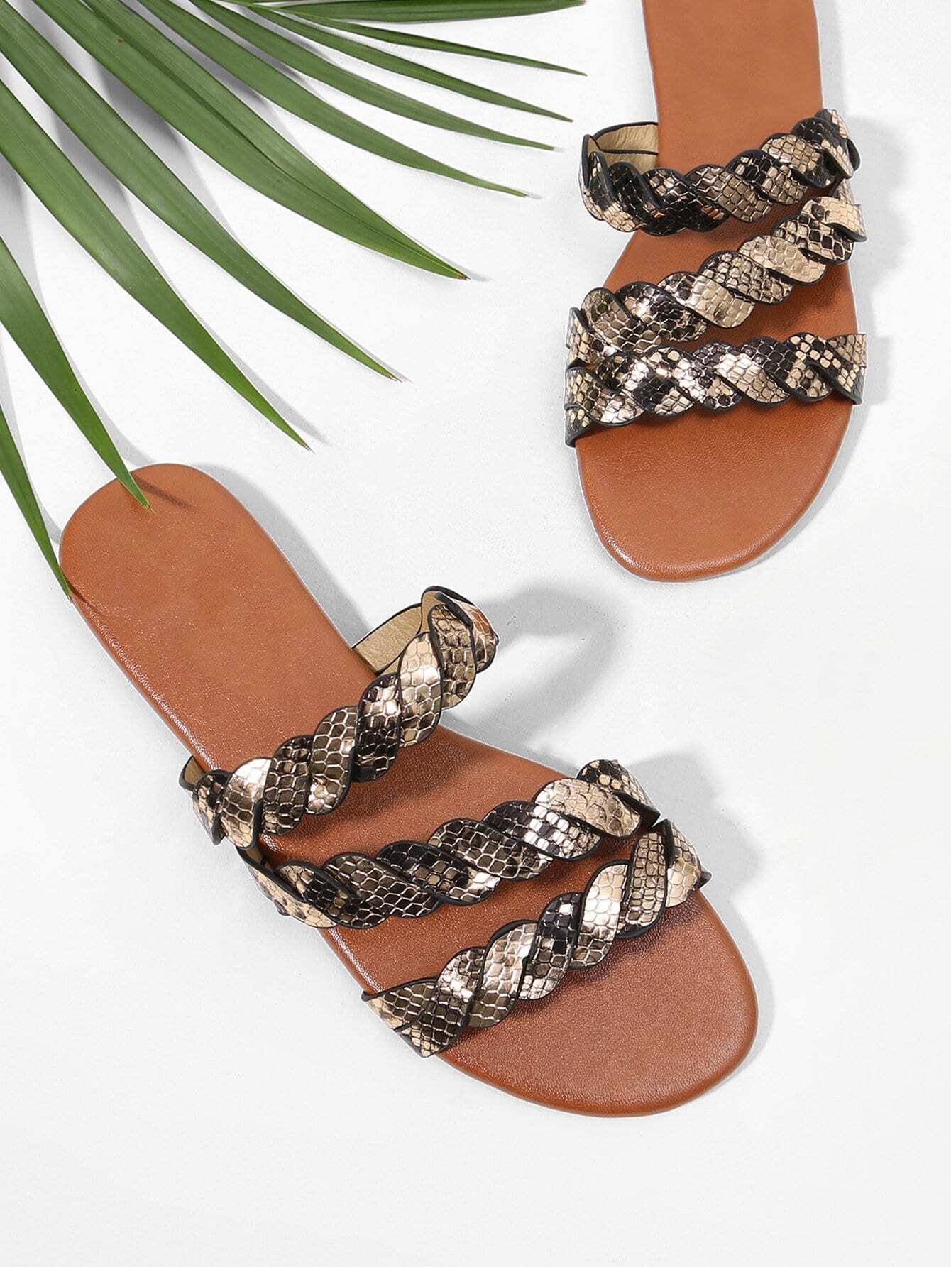Woven Design PU Flat Sandals woven design straw flat sandals