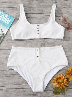 Plus Button Accent Top With Rib Knit Bikini Set