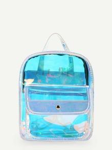 Pocket Front Iridescent Backpack
