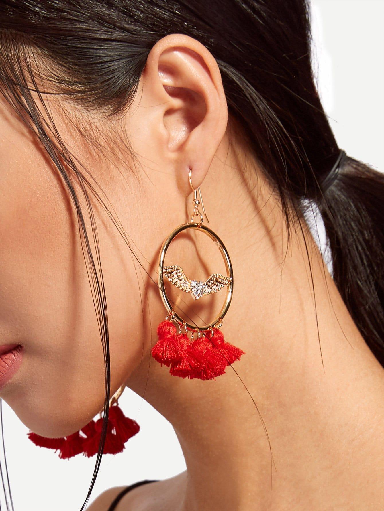 Tassel Design Statement Earrings statement rhinestone tassel dangle earrings