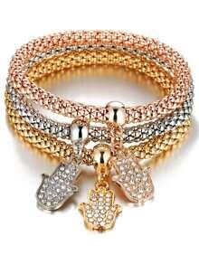 Rhinestone Hand Detail Bracelet Set 3pcs
