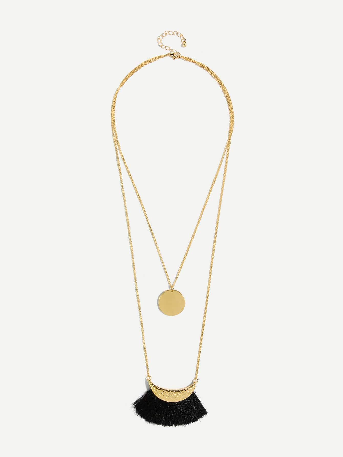 Quaste & runder Anhänger geschichteten Halskette