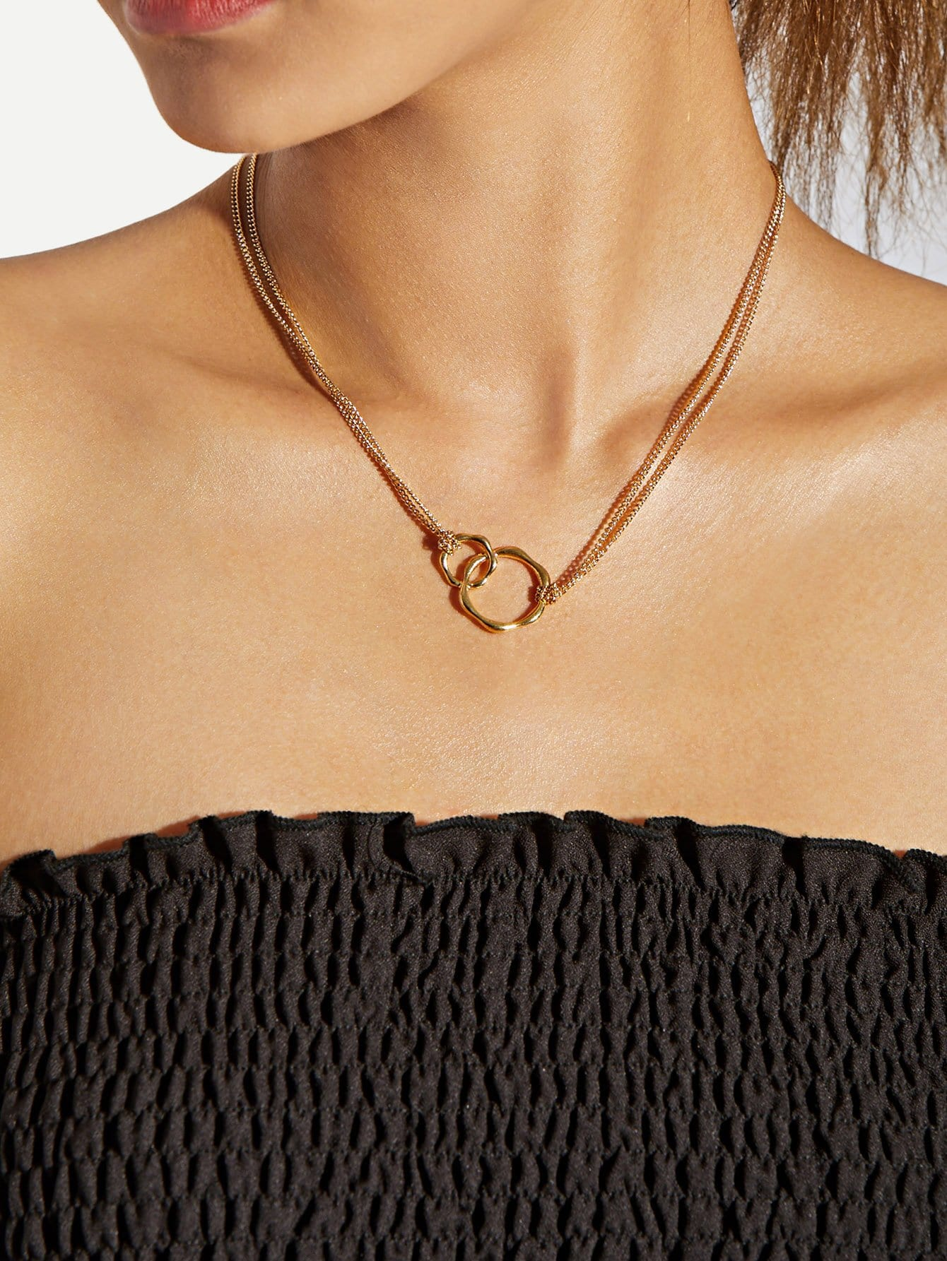 Ring Pendant Double Layered Chain Necklace double ring letter link chain pendant necklace