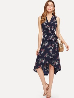 Botanical Print High Low Wrap Dress