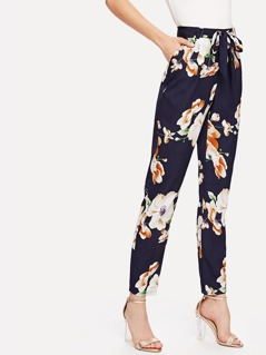 Self Belted Floral Tapered Pants