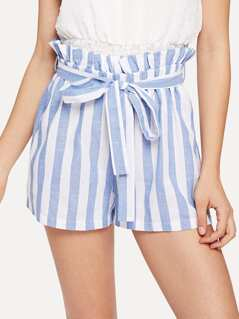 Self Belted Frill Waist Stripe Shorts