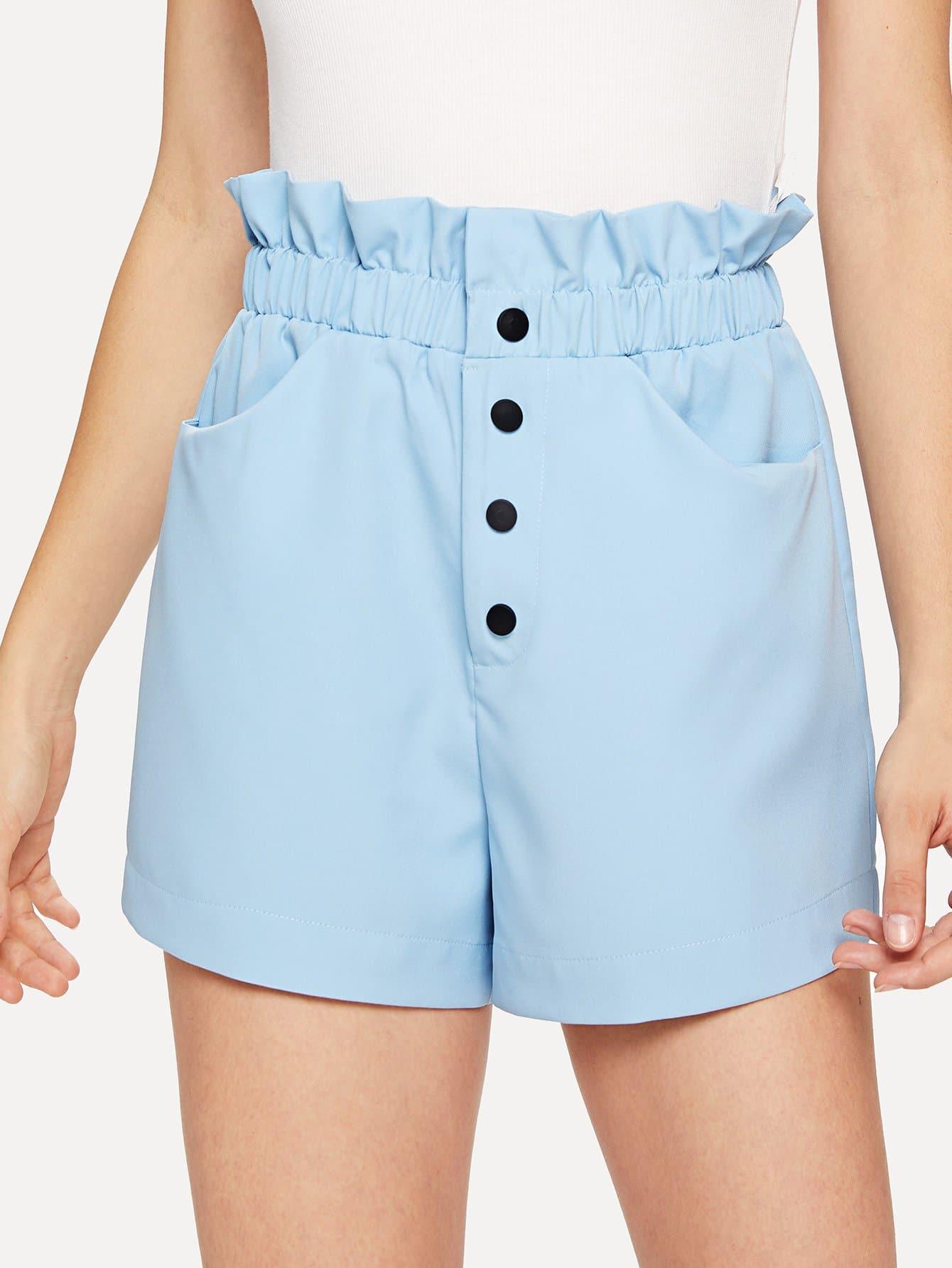 Pocket Patched Frill Waist Button Shorts high waist pocket patched dot skirt