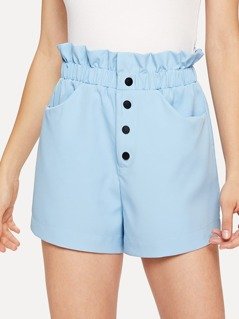 Pocket Patched Frill Waist Button Shorts