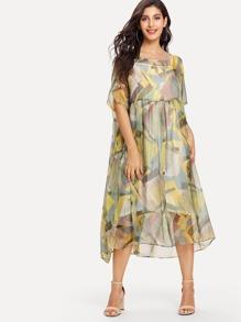 Graphic Print Chiffon Dress