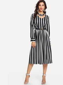 Choker Neck Stripe Dress