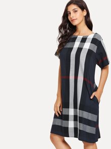 Hidden Pocket Plaid Dress
