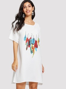 Feather Print Tee Dress