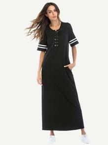 Lace Up Stripe Side Longline Dress