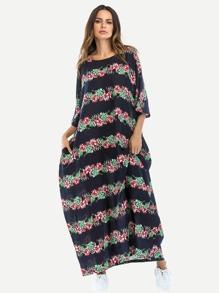 Block Stripe Floral Longline Dress
