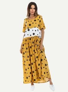 Block Stripe Dot Print Dress