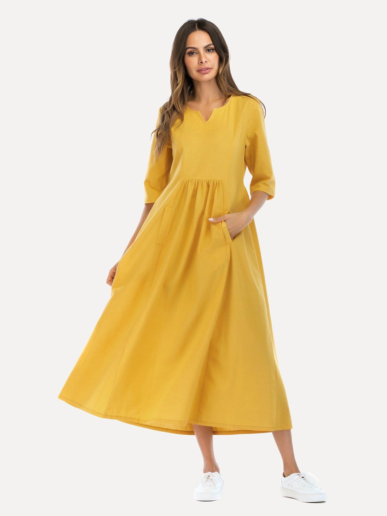 Hidden Pocket Flare Dress hidden pocket striped dress