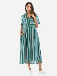 Tie Waist Stripe Shirt Dress