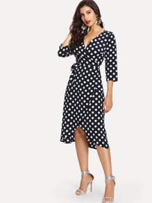 Surplice Wrap Tie Waist Dot Print Dress