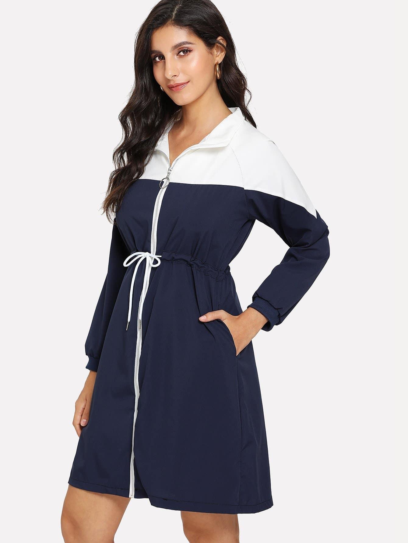 Color Block Zip Front Tie Waist Dress patchwork zip up tie waist dress