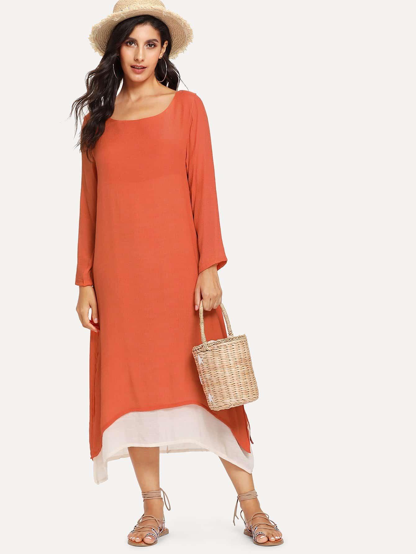 Asymmetrical Hem Longline Dress asymmetrical hem color block dress