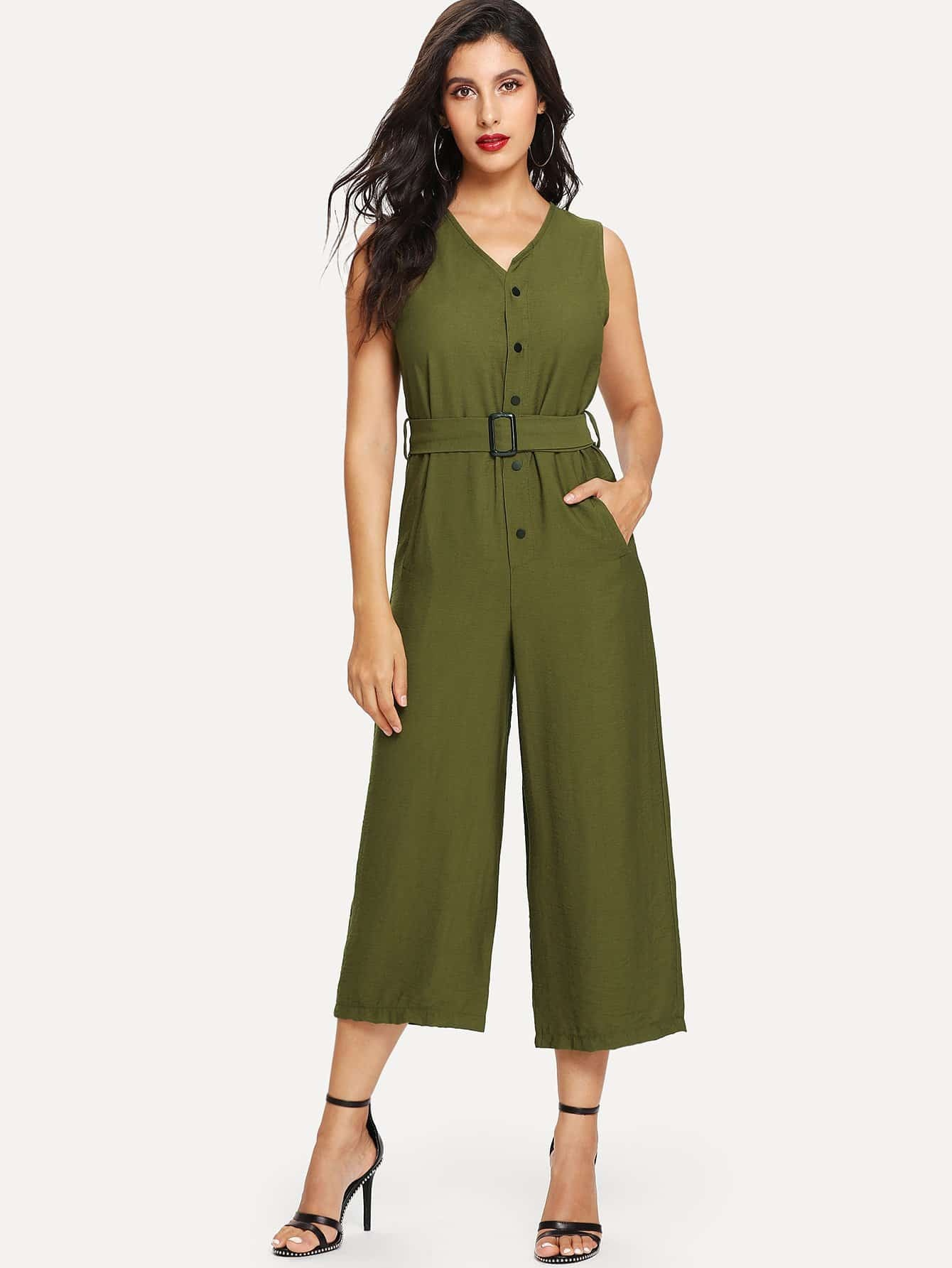 Button Front Wide Leg Jumpsuit With Belt wrap front floral jumpsuit with belt