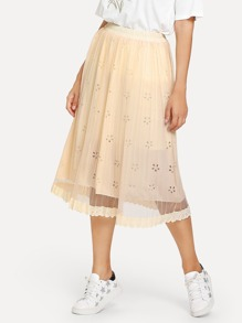 Hollow Out Mesh Skirt