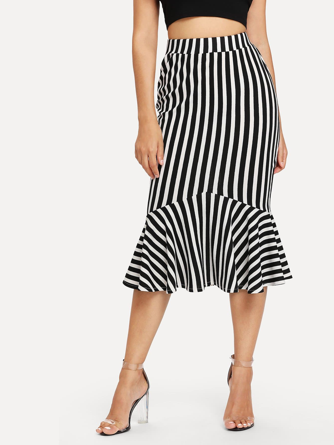 Ruffle Hem Stripe Skirt ruffle hem lace skirt
