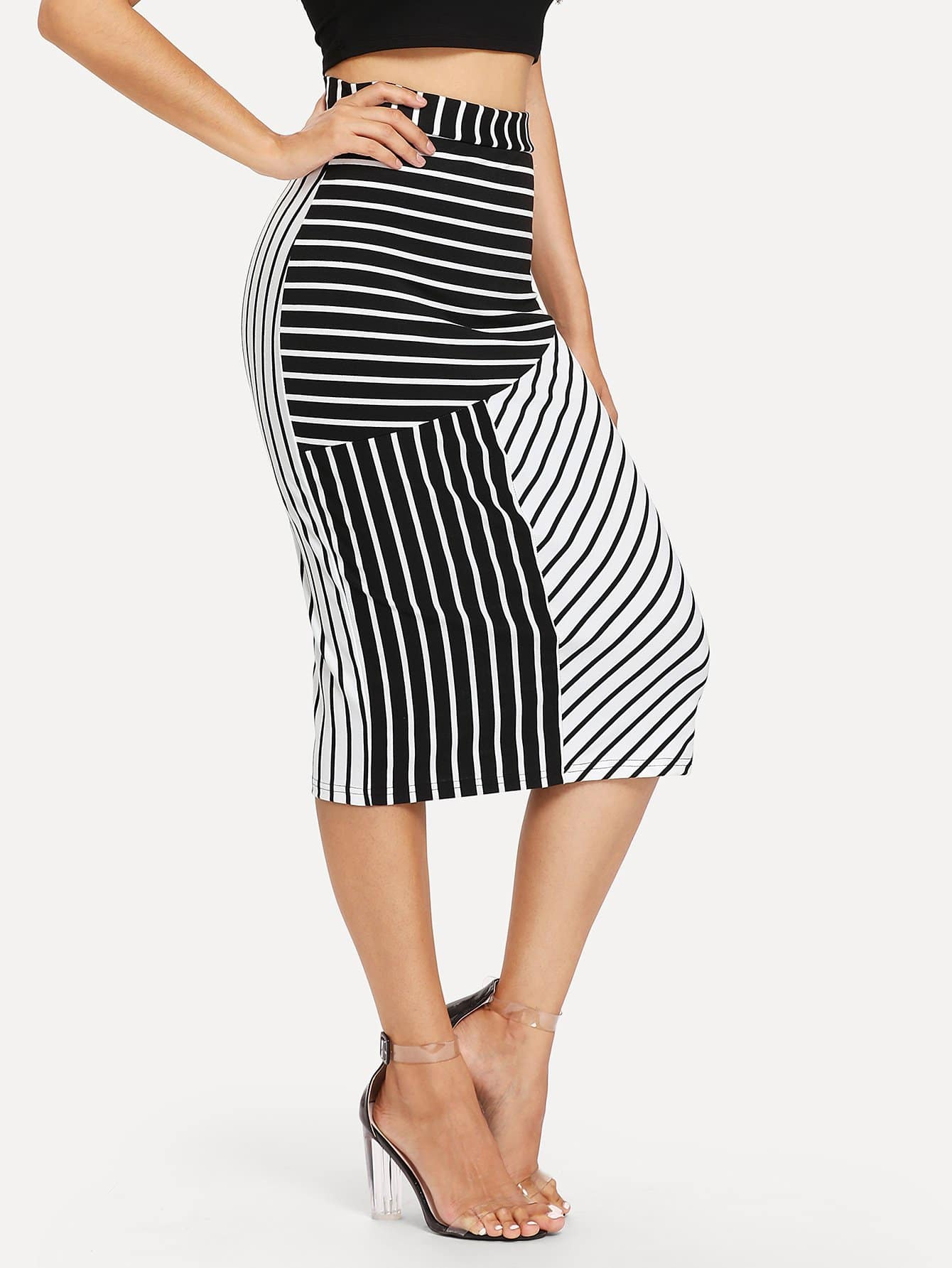 Stripe Pencil Skirt button side stripe pencil skirt