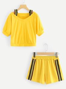 Open Shoulder Top & Stripe Side Shorts