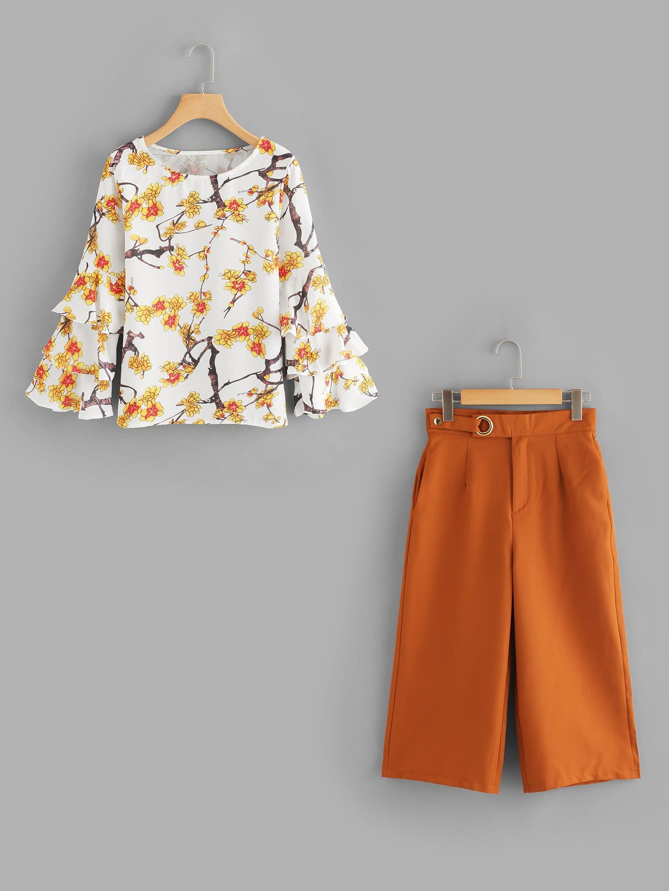 Layered Sleeve Floral Top & Wide Leg Pants wide sleeve color block floral top