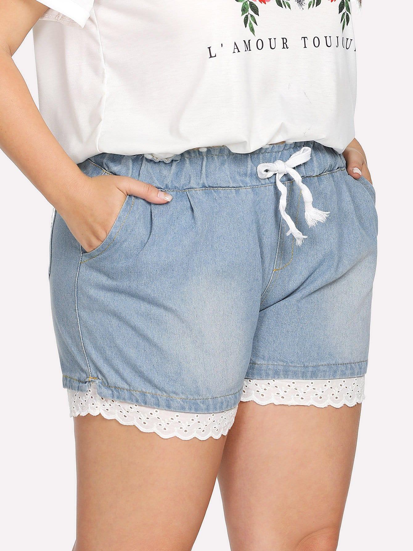 Plus Drawstring Waist Lace Hem Denim Shorts drawstring waist frayed denim shorts
