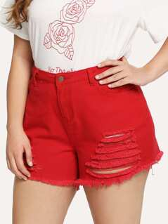 Plus Pocket Side Raw Hem Ripped Denim Shorts