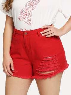 Pocket Side Raw Hem Ripped Denim Shorts