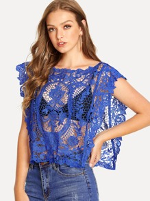 Guipure Lace Cover Up Poncho Top without Bralette