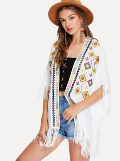Fringe Trim Geo Embroidered Kimono