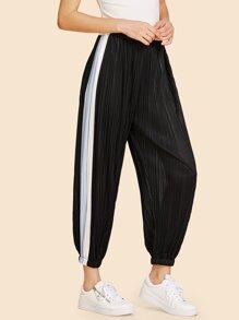 Contrast Panel Side Pleated Harem Pants