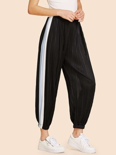 Contrast Panel Side Pleated Harem Pants