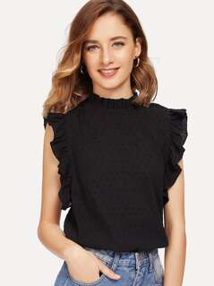 Ruffle Trim Sleeveless Dot Jacquard Top