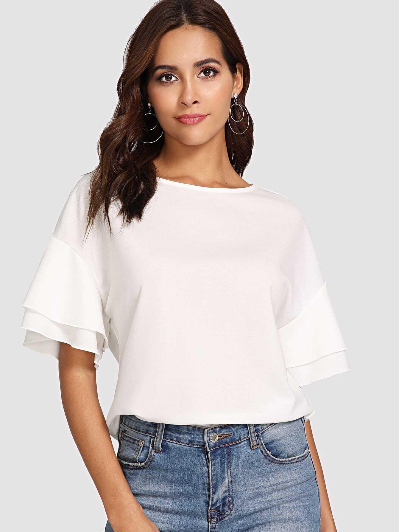 Drop Shoulder Layered Sleeve Top oblique shoulder layered frill ditsy top