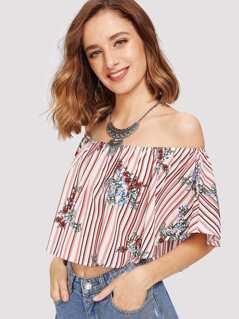 Stripe & Flower Print Crop Bardot Blouse