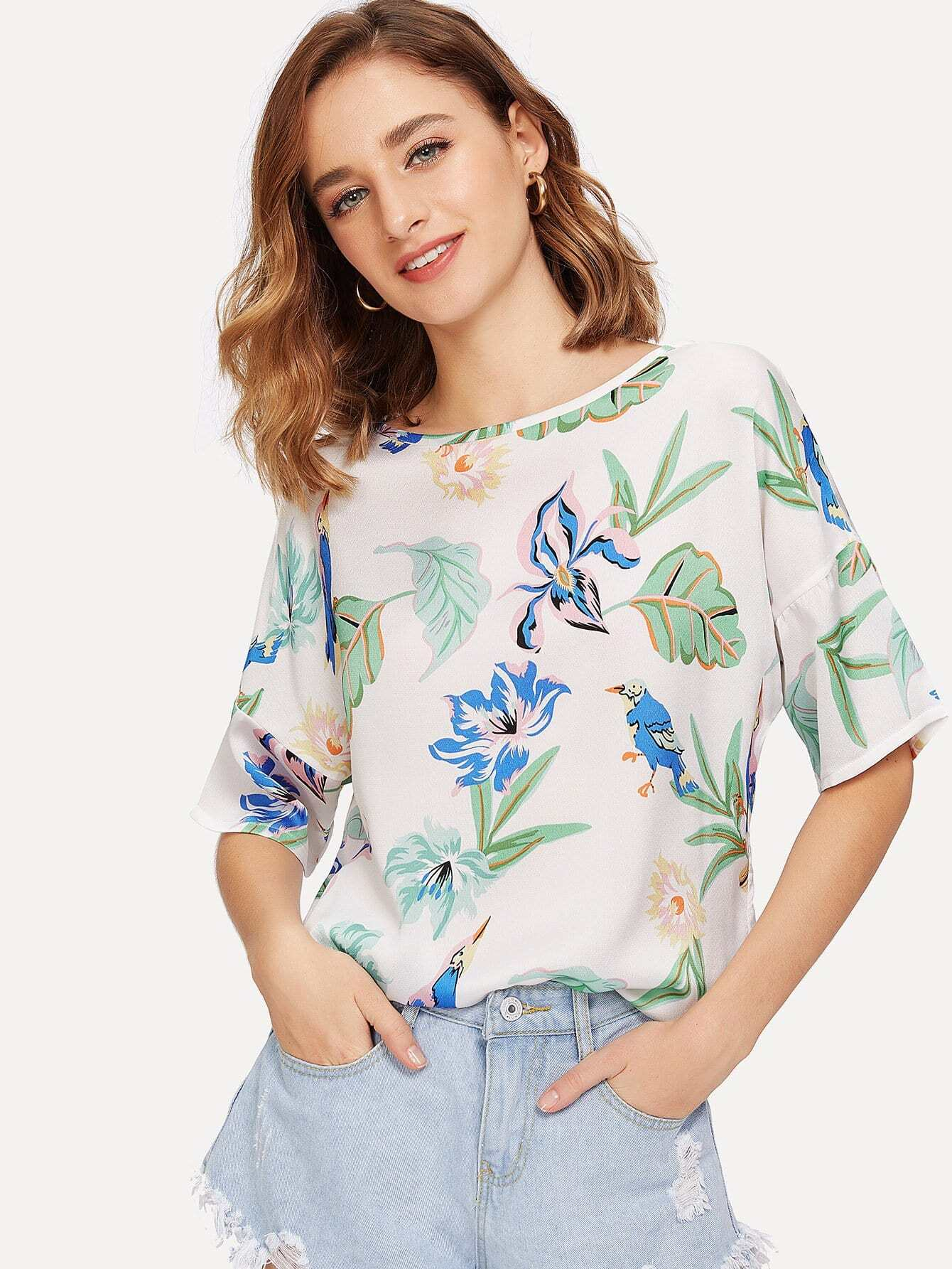 Flower & Bird Print Tunic Top vine print tunic top