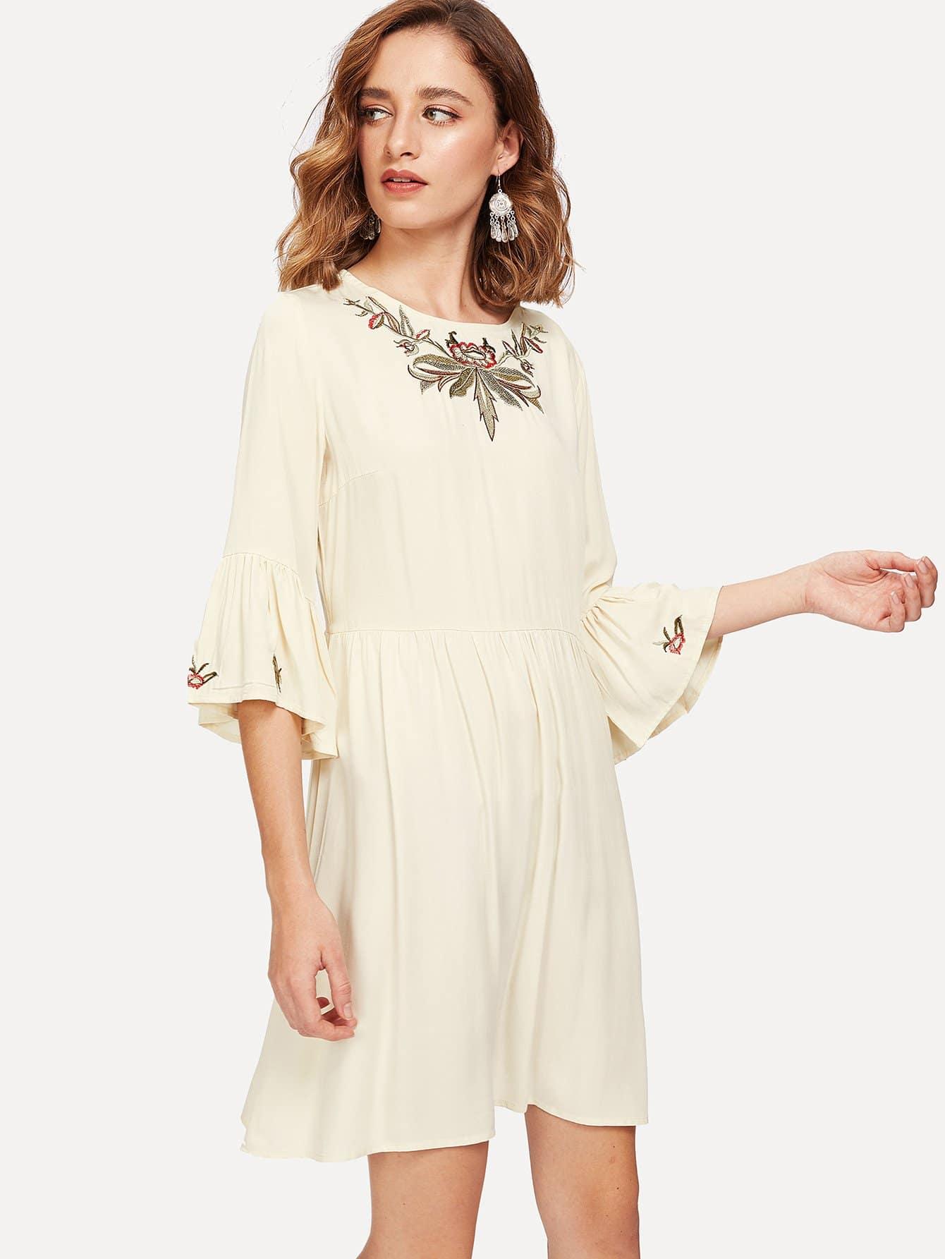Flounce Sleeve Embroidery Smock Dress corduroy babydoll smock dress