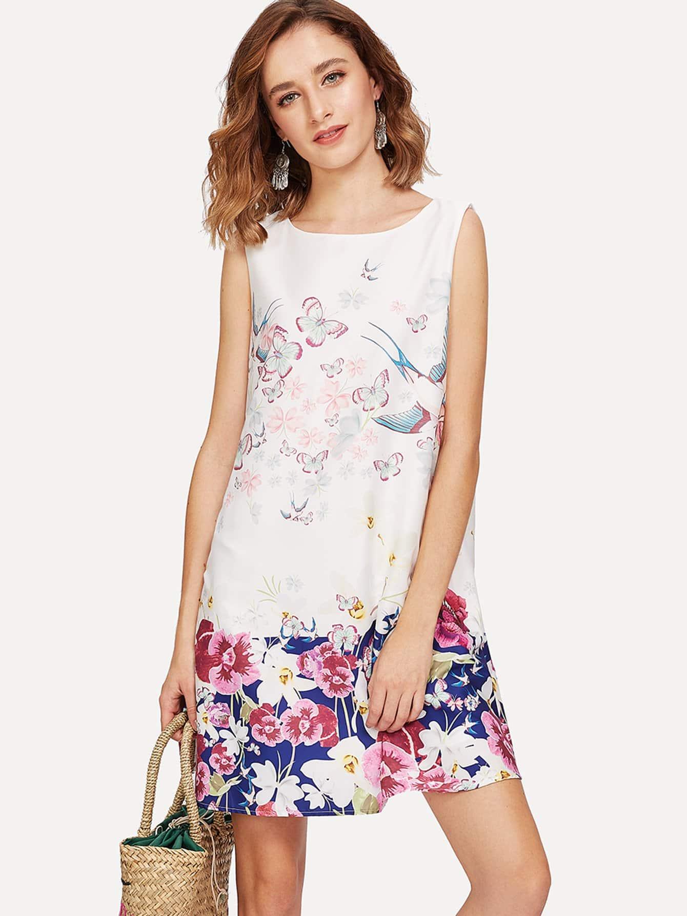Mixed Print Shell Dress mixed print dress