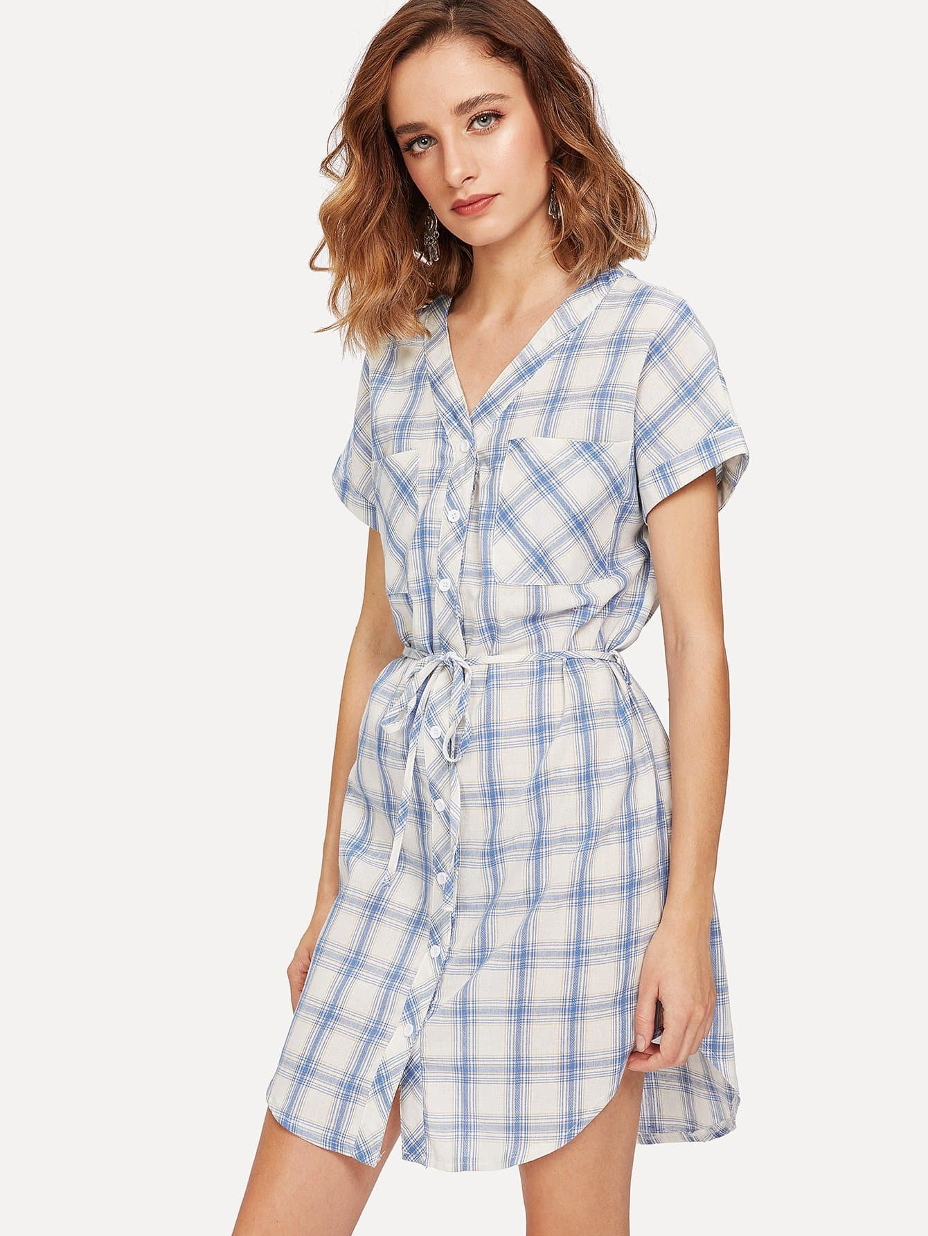 Pocket Patched Plaid Curved Hem Shirt Dress pocket patched plaid curved hem shirt dress